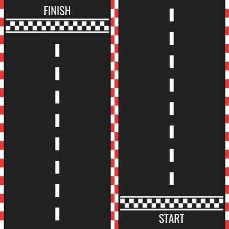Race track with start and finish line. Car or karting road racing background. top view. Vector Illustration