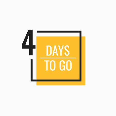 Four Days left to go. Geometric banner design template for your needs. Modern flat style vector illustration.