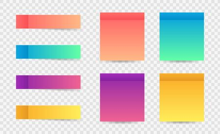 Different colorful post note stickers, vector collection. Sticky tapes with shadow template. Post note paper. Place any text on it.