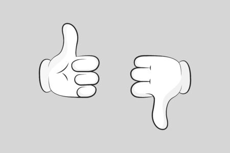 Cartoon gloved arms. Thumbs up and thumbs down. Like or dislike. Vector illustration line icon. Çizim