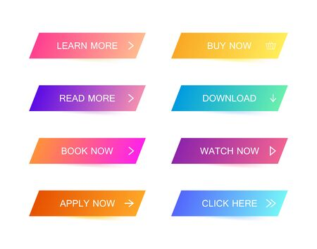Set of modern material style buttons for website, mobile app and infographic . Different gradient colors. Modern vector illustration flat style.
