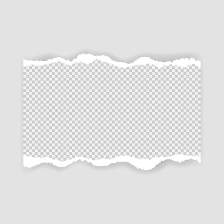 Blank sheet of torn paper for text or message. Torn paper edge. Torn paper stripes. Vector illustration.