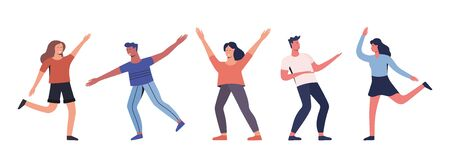 Group of young happy dancing people. Young men and women enjoying dance party. Modern colorful vector illustration. Иллюстрация