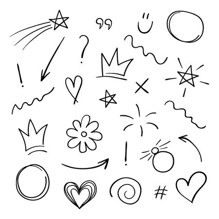 Super set different hand drawn element. Collection of arrows, crowns, circles, doodles on white background. Signs for design. Line art. 일러스트