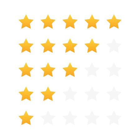 Five stars customer product rating review. Modern flat style vector illustration