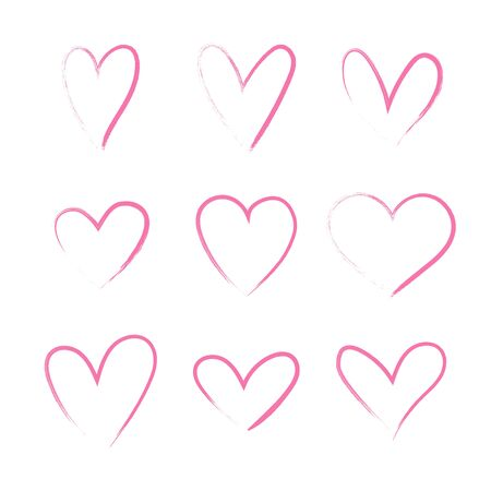 Heart hand drawn grunge icons set isolated on white background. For poster, wallpaper and Valentine's day. Collection of hearts, creative art.