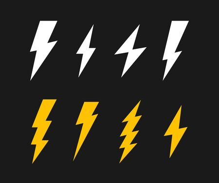 Super set Lightning bolt. Thunderbolt, lightning strike. Modern flat style vector illustration. Ilustracja
