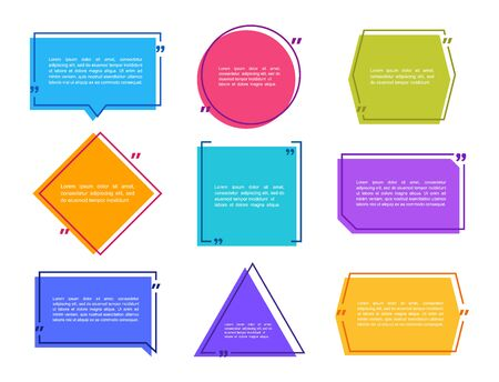 Super set different shape geometric texting boxes. Colored quote box speech bubble. Modern flat style vector illustration.
