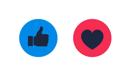 Thumbs up and heart icon on a white background. Modern flat style vector illustration.