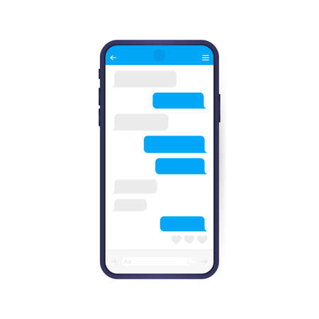 Smart Phone with messenger chat screen. Modern vector illustration flat style.