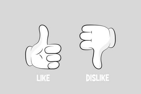 Cartoon gloved arms. Thumbs up and thumbs down. Like or dislike. Vector illustration line icon. 일러스트