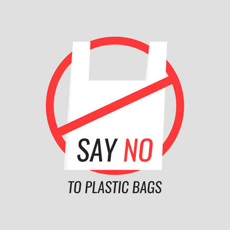 Say no to plastic bags. Ecology conversation. Modern vector illustration flat style. Illustration