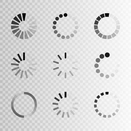 Super set different load icon. Circle website buffer loader or preloader. Download or upload status icon. Çizim