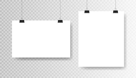 Blank white poster template on transparent background. Affiche, paper sheet hanging on a clip. Vector advertising banner mockup stand exhibit.