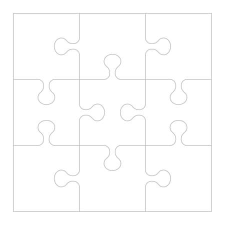 Puzzle background, banner, blank. Jigsaw section template. Modern vector illustration. Ilustrace