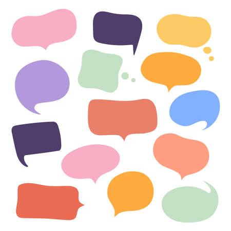 Set different hand-drawn speech bubble. Talk chat speak message. Empty blank comment. Vector illustration design. Ilustração Vetorial