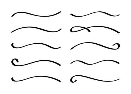 Hand drawn collection of curly swishes, swashes, swoops. Calligraphy swirl. Highlight text elements.
