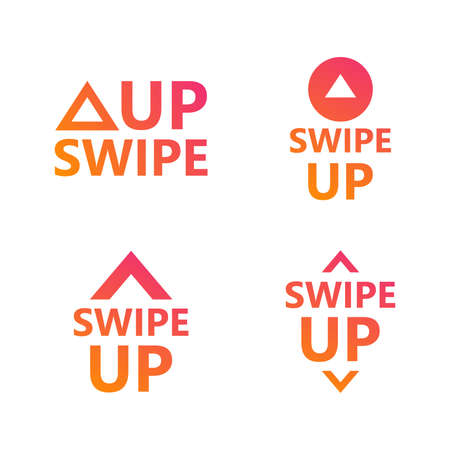 Swipe up icon set isolated on white background for social media stories, scroll pictogram. Modern gradient. Arrow up logo for blogger. Illusztráció