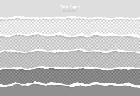 Set horizontal torn paper edges, seamless horizontally texture. Space for advertising, banner of web page, border and header. Vetores