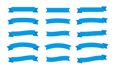 Set different flat vector ribbons banners isolated on white background. Blue strips in origami style Vector illustration design.