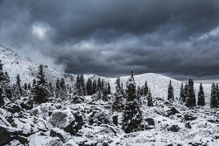 dramatically: Cloudy winter landscape