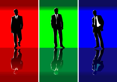 businessteam: Abstract vector 3 businessmens silhouettes Illustration