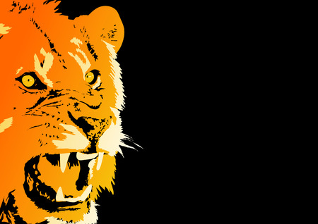 Abstract vector of an angry lion