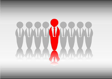 apart: Abstract vector of someone standing out from the crowd