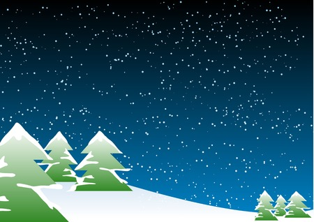 Abstract vector illustration of a christmas landscape Vector