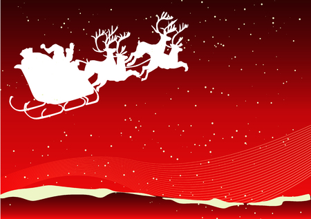 Abstract vector of santa and his reindeer