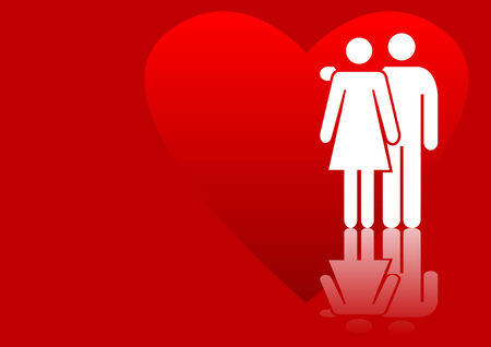 cupido: Abstract vector of a couple in love Illustration