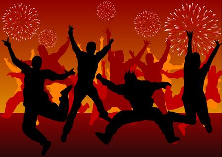 personas festejando: Silhouette vector de personas celebrando el nuevo a�o