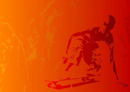 tough man: Abstract vector of a grungy skaterboy Illustration