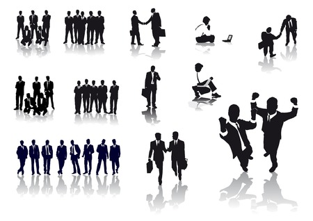 Vector silhouettes of several business people Vector