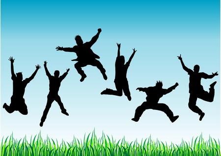springende mensen: Vector schaduwen gelukkig jumping mensen