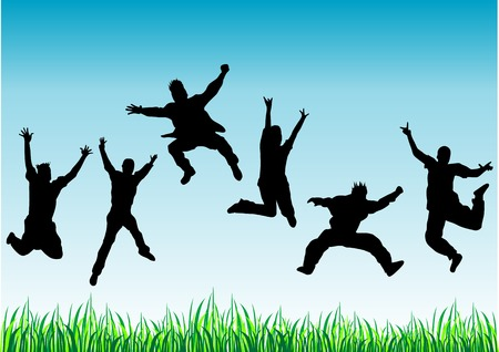 Vector silhouettes of happy jumping people Illustration