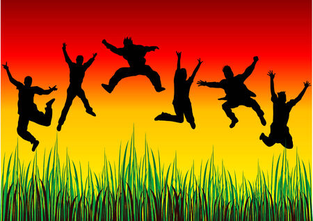 Vector silhouettes of happy jumping people Векторная Иллюстрация