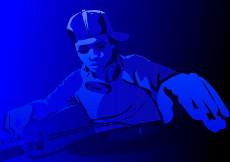 grooves: Vector illustration of a club deejay