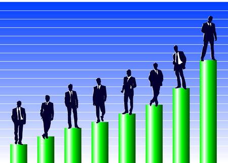 Vector illustration of several businessmen on a business ladder