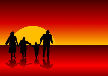 Abstract silhouette vector of a family holding hands Vector