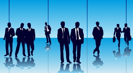Vector of businesspeople in a glass office building Vector