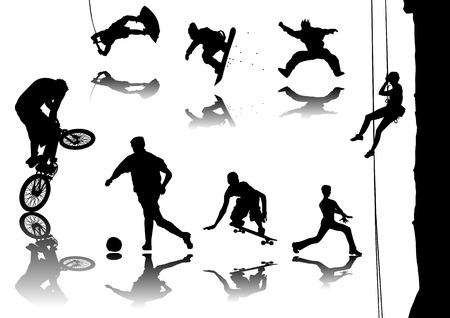 Silhouette vector illustration of several sports