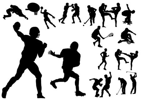 golf stick: Silueta ilustraci�n vectorial de varios deportistas