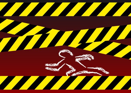 kill: Abstract vector illustration of a crime scene on a dark background Illustration