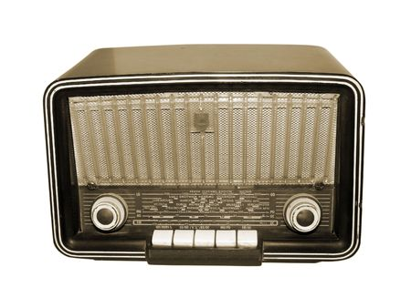 Sepia style photograph of an old fashioned vintage radio photo