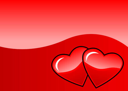 Two hearts on a red background Vector