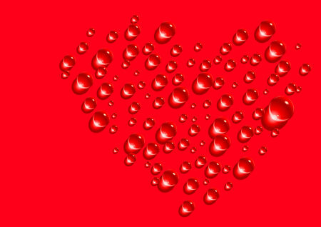 Abstract vector illustration of drops forming the shape of a heart Vector