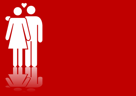 fiance: Abstract vector illustration of a valentines couple