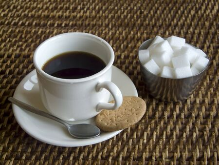 Coffee, biscuit and sugar Stock Photo - 2451370
