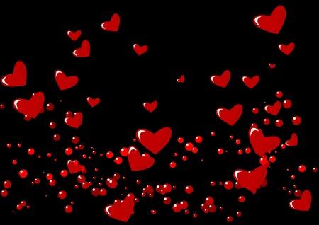 Resumen ilustración vectorial de los corazones sobre fondo negro
